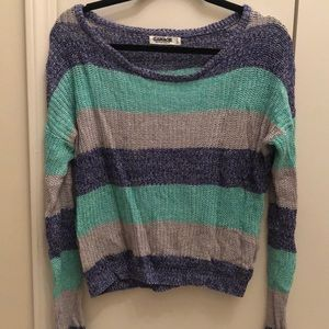 Garage striped sweater: teal, purple and gray